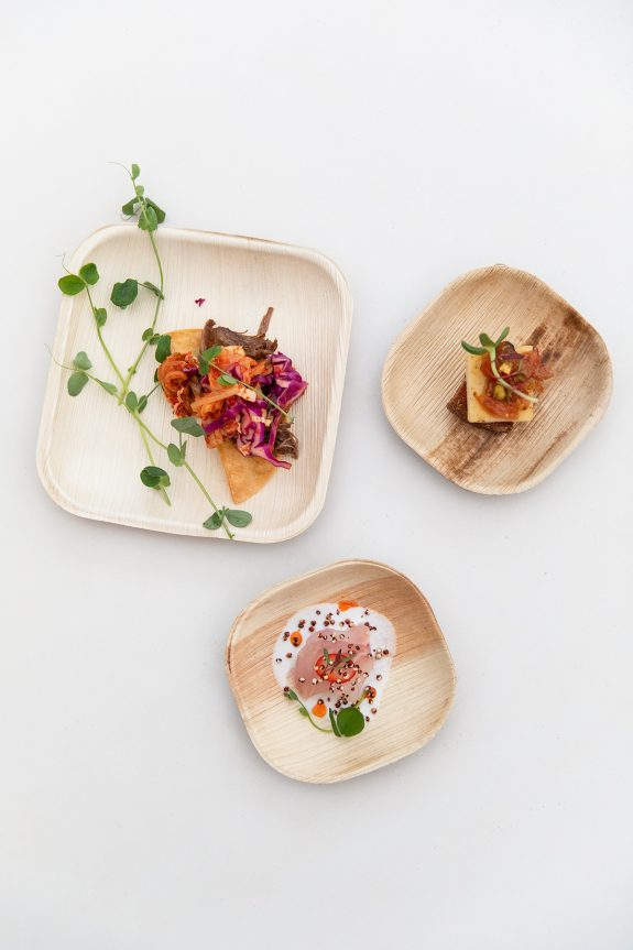 Personalized Catering Experience I The Austin Artisan Three Plated Catering Dishes on Bamboo Plates with Green Garnish