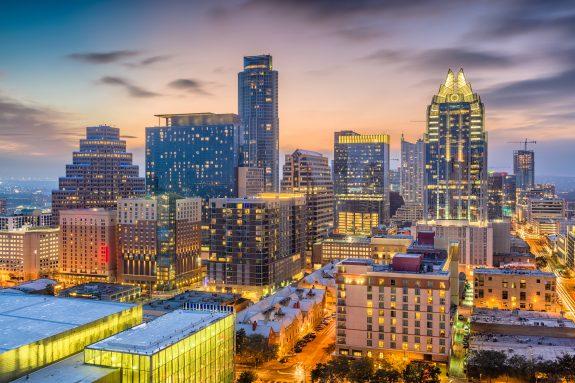 Austin, Texas, USA downtown cityscape at dusk.