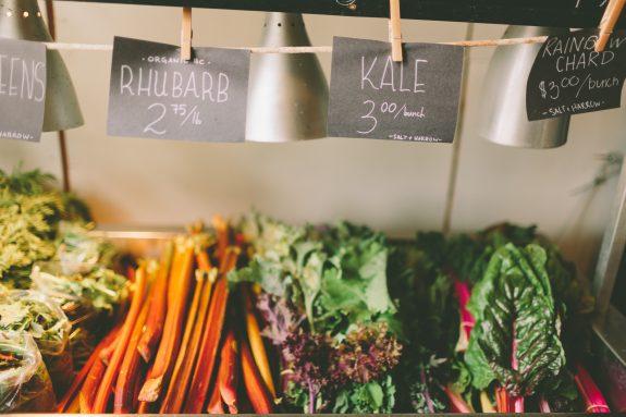 Seasonal produce at a farmer's market.