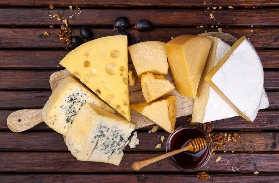 Delicious array of cheeses.