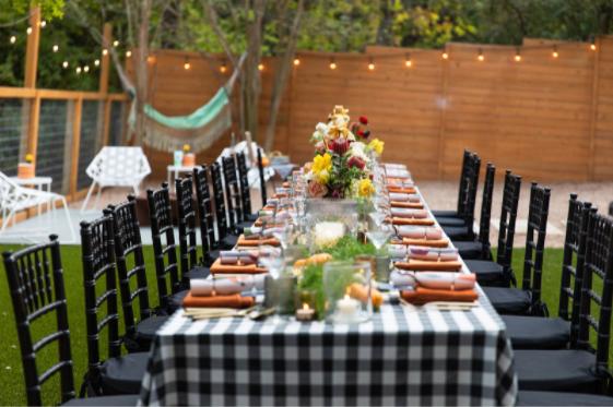 Backyard dinner setup.