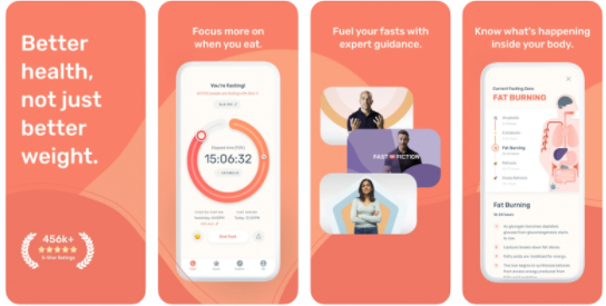 Preview screenshots for Zero App, an app to help you with daily fasting.