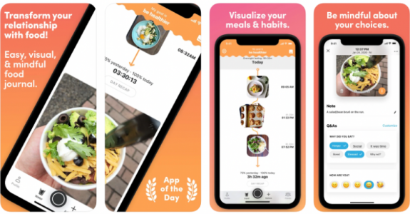 Preview screenshots of Ate Food Diary, an excellent app for improving more mindful eating and a healthier lifestyle.