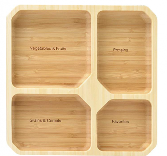 Wood portion control plate.