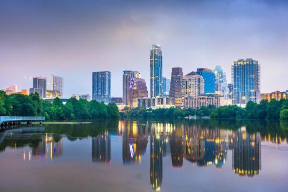 Skyline view of Austin, Texas.