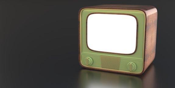 Green retro television set.