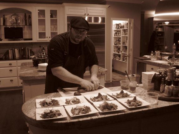 The Austin Artisan Chef Michael Wards prepares meals for a private catering party.